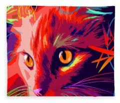 pOpCat OK- Orange Kitty Fleece Blanket