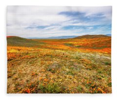 Poppies As Far As The Eye Can See Fleece Blanket