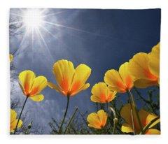 Poppies Enjoy The Sun Fleece Blanket