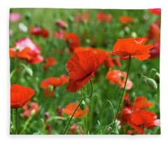 Poppies In The Field Fleece Blanket