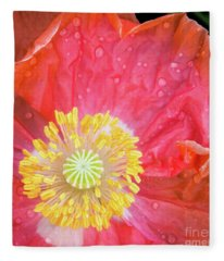 Poppy Closeup Fleece Blanket