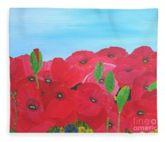 Poppy Parade Fleece Blanket