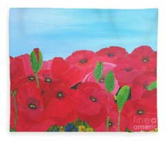 Poppy Parade Fleece Blanket