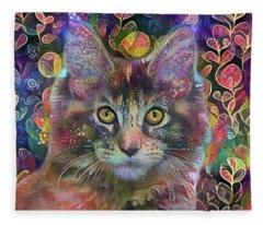 Poppy The Maine Coon Cat In The Garden Fleece Blanket