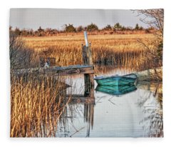Poquoson Marsh Boat Fleece Blanket