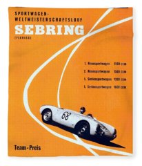 Porsche Sebring Vintage Racing Poster Fleece Blanket