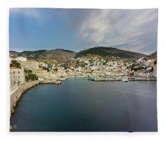 Port At Hydra Island Fleece Blanket