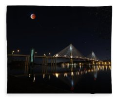 Port Mann Bridge With Blood Moon Fleece Blanket