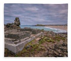 Porthmeor Beach January View Fleece Blanket