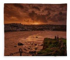 Porthmeor Sunset 2 Fleece Blanket