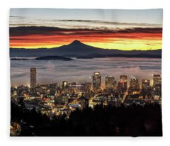 Portland Foggy Sunrise Fleece Blanket
