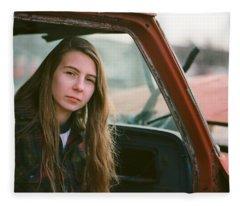 Portrait In A Truck Fleece Blanket