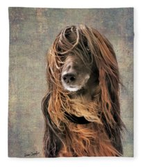 Portrait Of An Afghan Hound Fleece Blanket