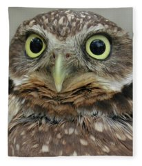 Portrait Of Burrowing Owl Fleece Blanket