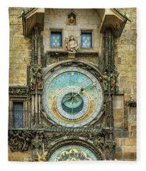 Prague Clock Fleece Blanket