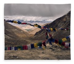 Fleece Blanket featuring the photograph Prayer Flags In The Himalayas by Whitney Goodey