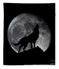 Pre Blood Red Wolf Supermoon Eclipse 873o Fleece Blanket
