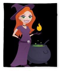 Pretty Witch With Cauldron Fleece Blanket