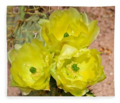 Fleece Blanket featuring the photograph Prickly Pear Cactus Trio Bloom by Judy Kennedy