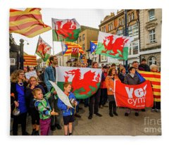 Protesting In Support Of Catalonia Fleece Blanket