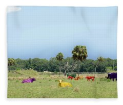 Psychedelic Cows Fleece Blanket