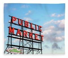 Public Market By Day Fleece Blanket