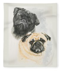 Fleece Blanket featuring the painting Pug Brothers by Barbara Keith