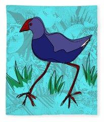 Fleece Blanket featuring the painting Pukeko In Blue by Jocelyn Friis