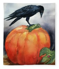 Pumpkin And Crow Fleece Blanket