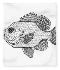 Pumpkinseed Fish Fleece Blanket