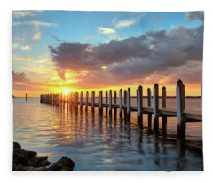 Punta Rassa Sunset Fleece Blanket