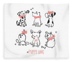 Puppy Love - Baby Room Nursery Art Poster Print Fleece Blanket