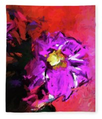 Purple And Yellow Flower And The Red Wall Fleece Blanket