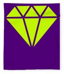 Purple Diamond Yellow Fleece Blanket