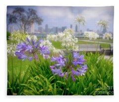 Purple Flowers In San Diego Fleece Blanket
