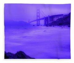 Purple Golden Gate Fog Fleece Blanket