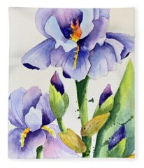 Purple Iris And Buds Fleece Blanket