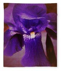 Purple Iris Portrait Fleece Blanket