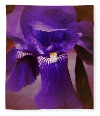 Purple Iris Portrait Fleece Blanket