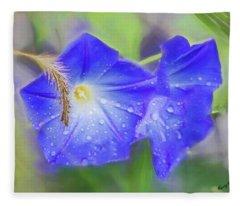Purple Morning Glories In The Rain. Fleece Blanket