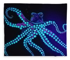 Purple Octopus  Fleece Blanket