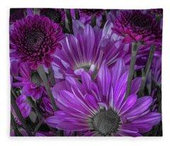 Purple Power Chrysanthemum  Fleece Blanket