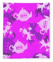 Purple Tea Party Fleece Blanket