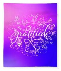 Purply Pink Gratitude Fleece Blanket