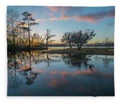 Quiet River Sunset Fleece Blanket
