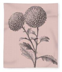Quilled Pompon Blush Pink Flower Fleece Blanket