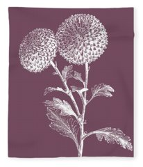 Quilled Pompone Purple Flower Fleece Blanket
