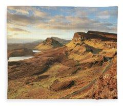 Quiraing Morning Light - Isle Of Skye Fleece Blanket