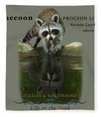 Raccoon Puzzler And Mastermind Fleece Blanket
