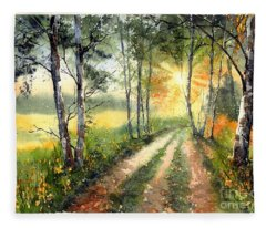 Radiant Sun On The Autumn Sky Fleece Blanket
